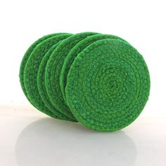 Clover Green Coasters Set of Six by PiecefulDesign on Etsy, $21.00