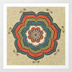 oriental mandala Art Print by Olillia - $16.64