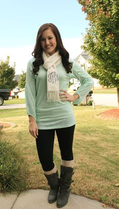 monogrammed scarf, boot socks, grey boots, cream scarf, mint sweater, wavy hair, monogram www.highheelstosneakers.com