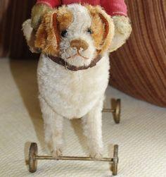Steiff St. Bernard Dog on Metal Wheels w FF button