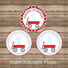 Add a some charm to your Little Red Wagon Party with our Personalized Stickers. Use them to jazz up your popcorn boxes, treat bags, mason jars, milk bottles, etc. Your stickers are printed on glossy p