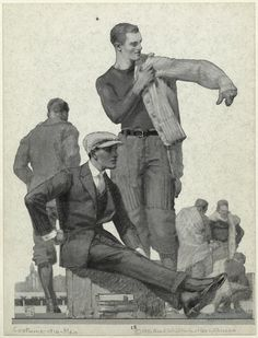 Young men's clothing ad, 1916: young men at a game