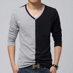 Encontrar Más Camisetas Información acerca de Moda hombres de manga larga  camiseta para hombre cuello en 7b26dffafb2