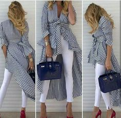 Women'S spring striped shirt dress w/belt+white pants+red toe high heels basic shoes Chic Outfits, Fashion Outfits, Summer Outfits, Striped Shirt Dress, Love Fashion, Womens Fashion, African Fashion, Casual Chic, Dress To Impress