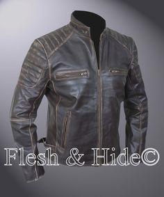 Genuine Cowhide Leather Buffed Brown Ribbed Cafe Racer Biker Motorcycle Jacket