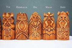 Scandinavian Gods Set. Wooden statues: Odin Thor Freyja
