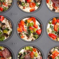 Loaded Egg White Muffins -  red bell pepper, spinach, jalapeno, green onions, mushrooms, sea salt, pepper, egg whites