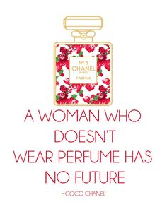 Chanel No 5 Perfume Quote (red) on Etsy, $7.00
