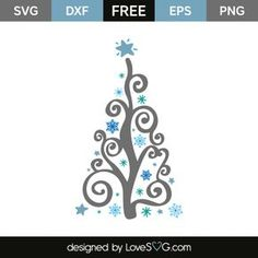 *** FREE SVG CUT FILE for Cricut, Silhouette and more *** Snowflakes christmas tree