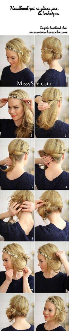 Headband qui ne glisse pas, la technique pour bien le mettre #headband #AccessoiresCheveuxChic #accessoirescheveux http://www.accessoirescheveuxchic.com/blog/les-accessoires-cheveux/porter/headband/headband-ne-glisse-pas-technique/ - Board mescheveux/tuto-de-coiffure