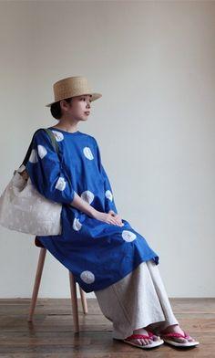 "Kimono sleeve one piece dress with polka dots of ""shibori"" japanese -tie dye…"