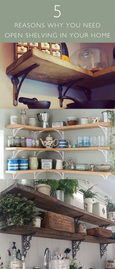 Open shelving is a popular choice for homeowners and we have many different solutions which will add both style and functionality to your home. From Rustic Scaffold Shelv Rustic Shelving, Open Shelving, Shelfie, Interiors, Interior Design, Home Decor, Nest Design, Rustic Shelves, Home Interior Design