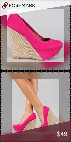 HOT Pink Espadrilles Wedges BEAUTIFUL Espadrilles Wedges in a GORGEOUS Hot PINK Color!!...Make a 'Statement' Stepping Out in These Shoes!! 🚫TRADES‼️ PRICE IS FIRM UNLESS BUNDLED‼️ Qupid Shoes Wedges