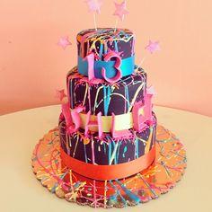 Neon Splatter Rainbow Cake / 2tarts Bakery / New Braunfels, TX / www.2tarts.com