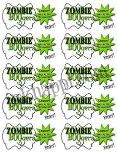 Zombie boogers. So YuMmmmMmmmy! Tags to attach to bags. 10 to a page. More Zombie booger stuff available at inkhappi.com!