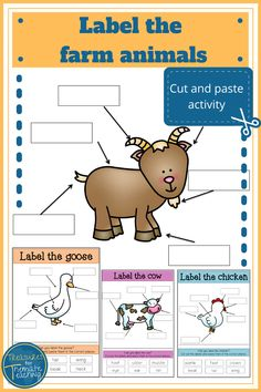 This activity is a simple way for students to engage with new vocabulary while working in the farm animal theme. Students need to cut out the words at the bottom of the page and then paste them in the correct place around the animal. There is one sheet per animal. Animals: chicken, cow, goat, goose, horse, pig, sheep