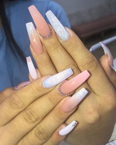 In seek out some nail designs and some ideas for your nails? Here's our listing of must-try coffin acrylic nails for modern women. Summer Acrylic Nails, Best Acrylic Nails, Summer Nails, Pink Acrylic Nail Designs, Nail Designs Bling, Aycrlic Nails, Bling Nails, Glitter Nails, Nail Polishes