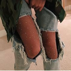 fishnet tights and jeans - Google Search More