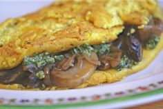 Tofu Omelet with Pesto, Caramelized Onions and Mushrooms | #Holiday #Brunch-Worthy