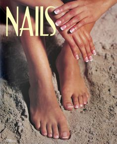 French Manicure & Pedicure in Beach Sand NAILS Salon Spa Poster - $1