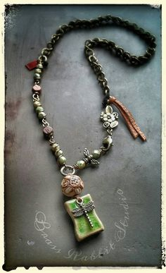 Bohemian necklace mixed media ceramic by BrassRabbitStudio