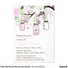 Pink and Green Mason Jars Bridal Shower Invitation