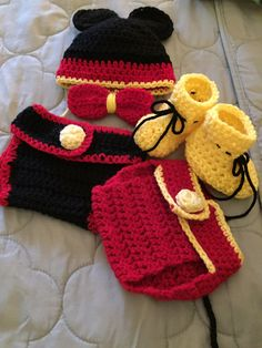 Mickey Mouse inspired Baby Set..  Made with Red Heart Yarn/Red and Red Heart Love/Yellow