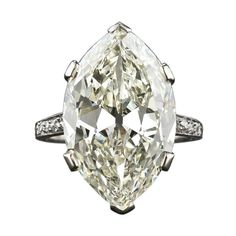 9.55 Carat Marquise/Oval 'Moval' Edwardian Platinum Ring