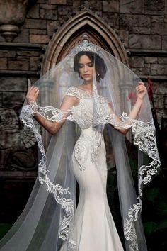 Lace bridal veil, beautiful bridal veil, cathedral veil, lace veil wedding veils – wedding ideas – Famous Last Words Best Wedding Dresses, Wedding Attire, Bridal Dresses, Wedding Gowns, Wedding Lace, Wedding Ceremony, Church Wedding, Wedding Tiara Veil, Baby Wedding