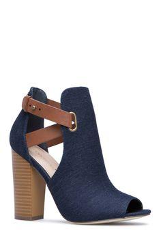 19b3de169 RIKA HEELED SANDAL - ShoeDazzle Denim Wedding, Shoe City, Fur Boots, Shoe  Boots