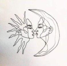 drawings disney #diytattooimages Art Drawings Sketches, Easy Drawings, Tattoo Drawings, Tattoo Outline Drawing, Abstract Sketches, Outline Drawings, Couple Drawings, Tattoo Sketches, Moon Sketches