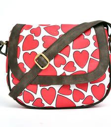Heart printed cross body canvas pu sling