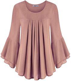 Fancy Dress Design, Stylish Dress Designs, Designs For Dresses, Stylish Dresses, Stylish Tops For Women, Moda Casual, Chiffon Tops, Chiffon Shirt, Blouses For Women