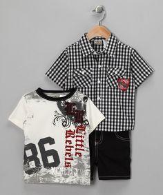 Loving this Little Rebels Black '86' Plaid Shirt Set - Toddler on #zulily! #zulilyfinds