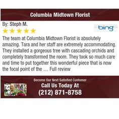 The team at Columbia Midtown Florist is absolutely amazing. Tara and her staff are...