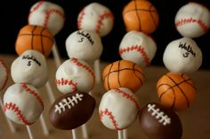 sports+themed+graduation+party | Sports Themed Cake Pops!