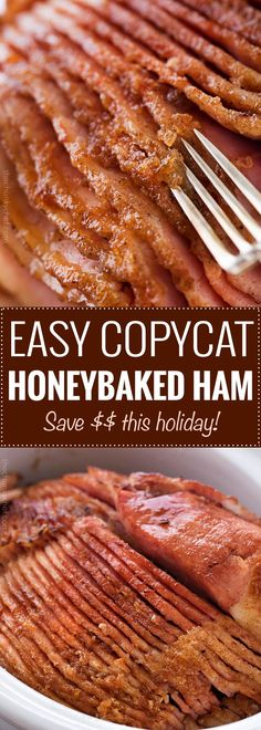 This copycat HoneyBaked ham is succulent and tender with the most amazing crispy sweet glaze!Made with honey sugar and plenty of mouthwatering spices you'll be amazed at how easy it is to make this ham at home and save a TON of money! Easter Recipes, Thanksgiving Recipes, Holiday Recipes, Recipes Dinner, Thanksgiving Holiday, Christmas Ham Recipes, Dessert Recipes, Cooker Recipes, Crockpot Recipes