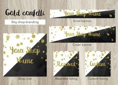 Etsy shop banner set, premade gold confetti banner set, black etsy cover banner, gold black white banner, gold black watercolor shop banner by GiuliaBelfioriGadget