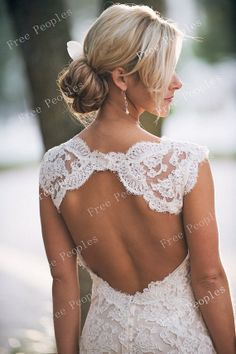 Custom Made A line Backless V neck Lace Wedding by FreePeoples, $369.99