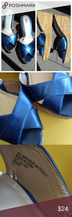 Mossimo blue platform wedge criss cross mules Beautiful Mossimo criss cross mules. Good pre-loved condition. Mossimo Supply Co Shoes Mules & Clogs