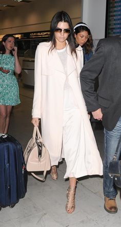 Airport style: Camilla & Marc coat + pants, Sophia Webster sandals, Marc Jacobs tote