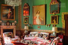 The Green Room is next to the duchesss bedroom. Portraits by Fernando Alvarez of the duchess (over the sofa) and her eldest son (over the fireplace) the Duke of Huescar, were painted in the 1950s. Photo by Ricardo Labougle.