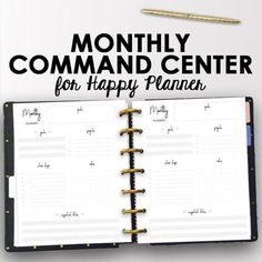 Monthly Command Center Happy Planner Pages Use these monthly productivity Happy Planner inserts for your classic sized Happy Planner or your Arc Planner! These inserts are designed to increase productivity by giving you space to plan monthly projects, plan goals and create action steps! Write an inspirational quote for the month, brainstorm on the bullet journal style notes section, and create your action plan that you can check off throughout the month…