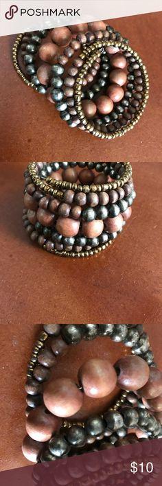 Multi tiered wrap bracket Beautiful earth tones for maximum effect Jewelry Bracelets