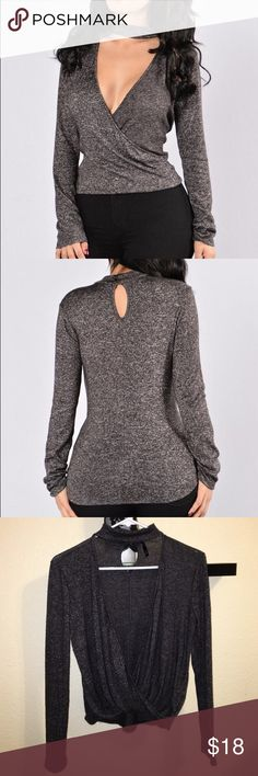 "Fashion Nova charcoal grey top Deep ""V"", Long Sleeve, Choker Detail, Fabric: 50% Polyester, 45% Rayon, 5% Spandex Fashion Nova Tops Tees - Long Sleeve"