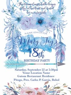 Dreamcatcher | debut invitation | sapphire | self edited Birthday Party Invitations, Birthday Party Themes, Birthday Ideas, Debut Invitation 18th, 18th Debut Ideas, Debut Themes, Debut Program, Birthday Quotes Bff, Debut Party