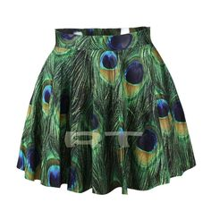 Peacock Feather Skirt Sexy Skirt Digital Printing by CherryAIO, $18.90