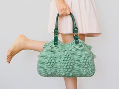 BAG // Mint Shoulder Bag Crochet Bag Celebrity Style With Genuine Leather Green Handles on Etsy, $99.00