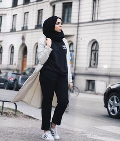 adidas-with-trench-jacket- adidas with hijab- How to wear trench coat with hijab http://www.justtrendygirls.com/how-to-wear-trench-coat-with-hijab/