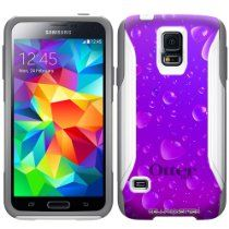 Otterbox Commuter Purple Water Drops Hybrid Case for Samsung Galaxy S5 //  Description This OtterBox® Commuter Case is made up of a durable 2 piece set that combines a sturdy silicone skin that lines your phone and a hard polycarbonate shell that snaps in